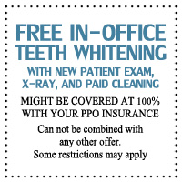 free in office teeth whitening offer